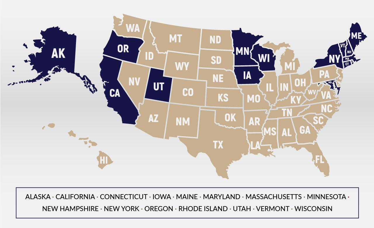 A map showing the fifteen states (Alaska, California, Connecticut, Iowa, Maine, Maryland, Massachusetts, Minnesota, New Hampshire, New York, Oregon, Rhode Island, Utah, Vermont, and Wisconsin) that require interest on escrow accounts